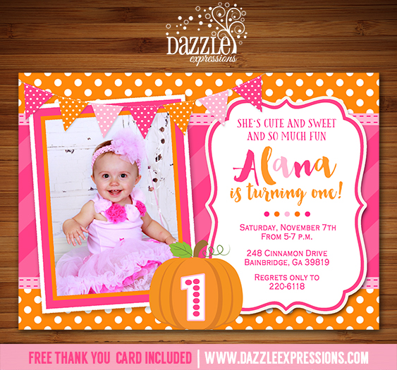 Printable pink and orange pumpkin birthday invitation october pumpkin birthday invitation 1 free thank you card included stopboris Image collections