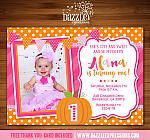 Pumpkin Birthday Invitation 1 - FREE Thank You Card included