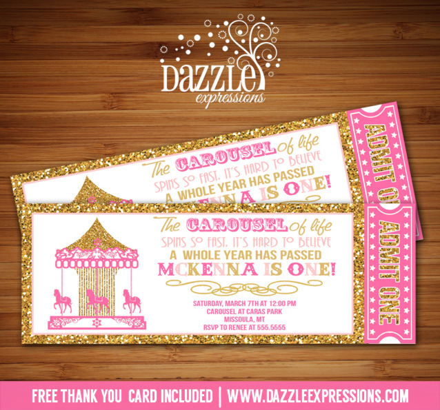 Printable pink and gold glitter carousel ticket birthday invitation carousel ticket invitation 10 free thank you card included stopboris Gallery