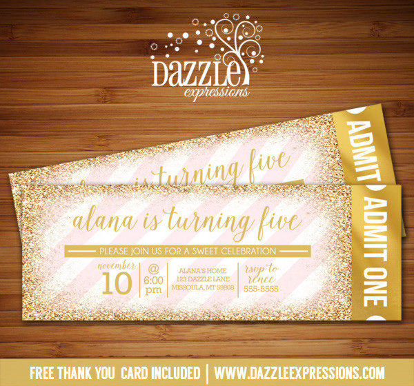 Pink and Gold Glitter Ticket Birthday Invitation - FREE thank you card included