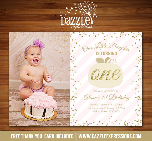 Pink and Gold Pumpkin Invitation 2 - FREE thank you card included