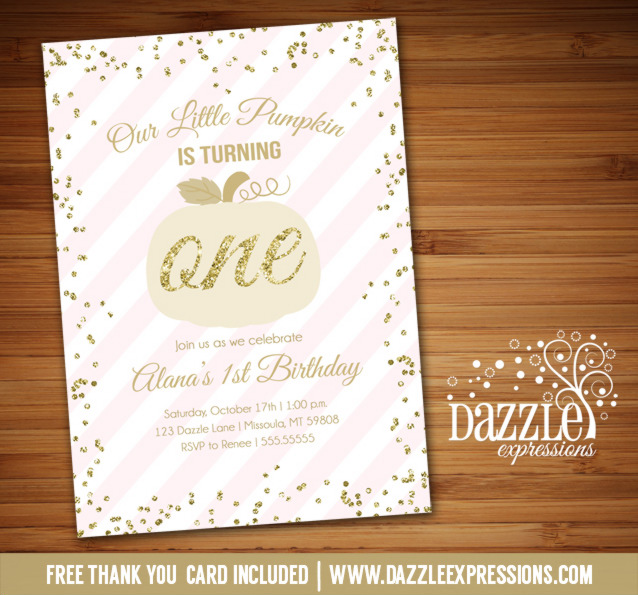 printable pink and gold glitter pumpkin birthday invitation fall