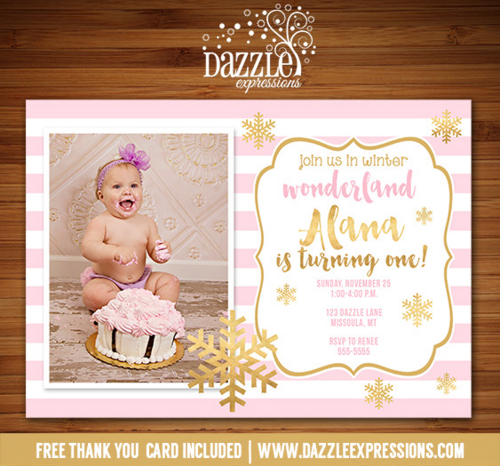Pink and Gold Snowflake Invitation 1 - FREE thank you card included
