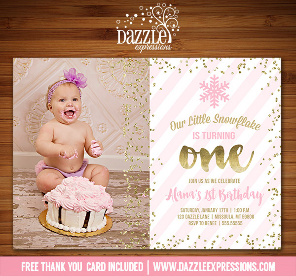 Pink and Gold Snowflake Invitation 3 - FREE thank you card included