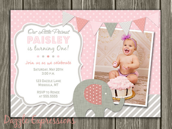 Pink and Gray Elephant First Birthday Photo Invitation Printable – First Birthday Thank You Cards