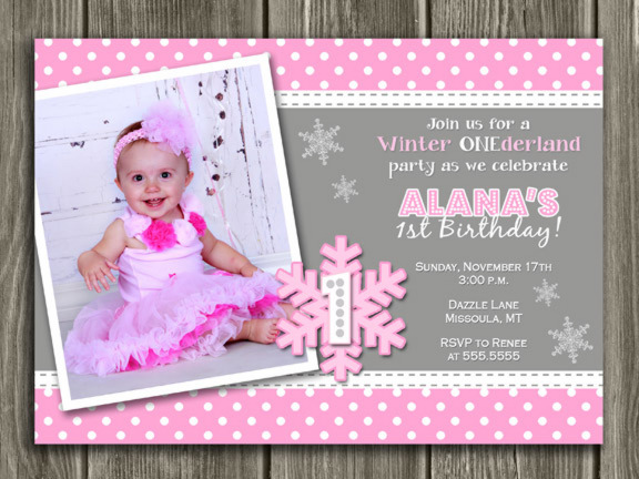 Winter Snowflake Birthday Invitation 8 - FREE thank you card included