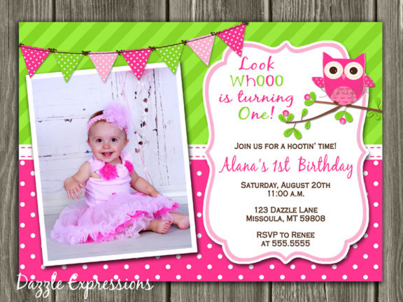 Owl Invitation 1 - Thank You Card Included