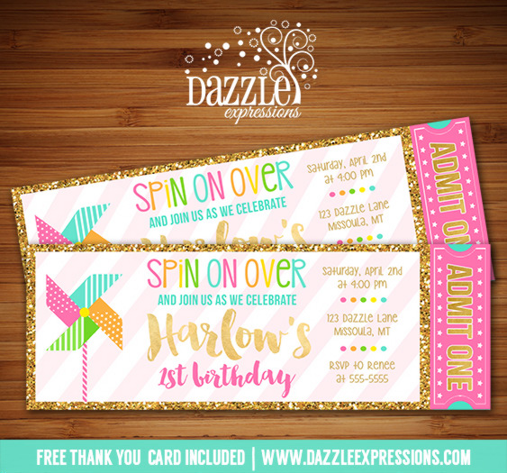 Pinwheel with Gold Ticket Invitation - FREE thank you card