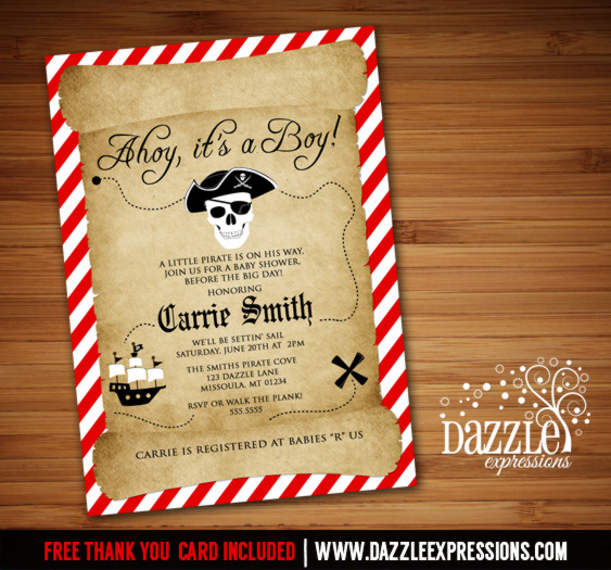 Pirate Baby Shower Invitation - FREE thank you card included