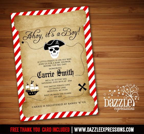 Printable Pirate Baby Shower Invitation