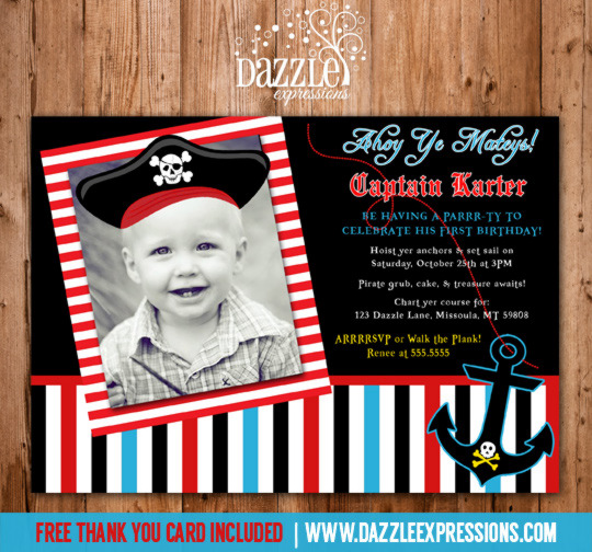 Pirate Birthday Invitation 2 - FREE Thank You Card Included