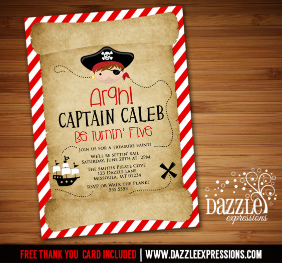 Pirate Birthday Invitation 3 - FREE Thank You Card Included
