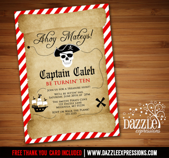 Pirate Birthday Invitation 4 - FREE Thank You Card Included