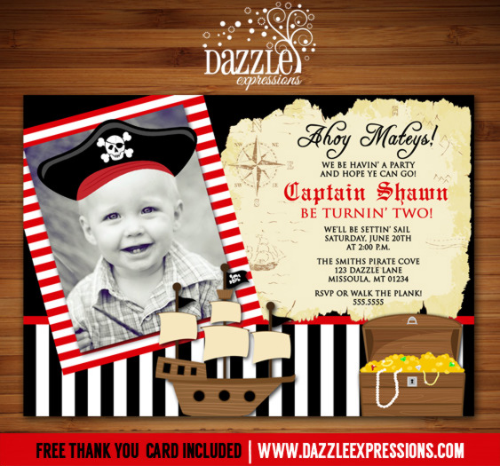 Pirate Birthday Invitation 5 - FREE Thank You Card Included