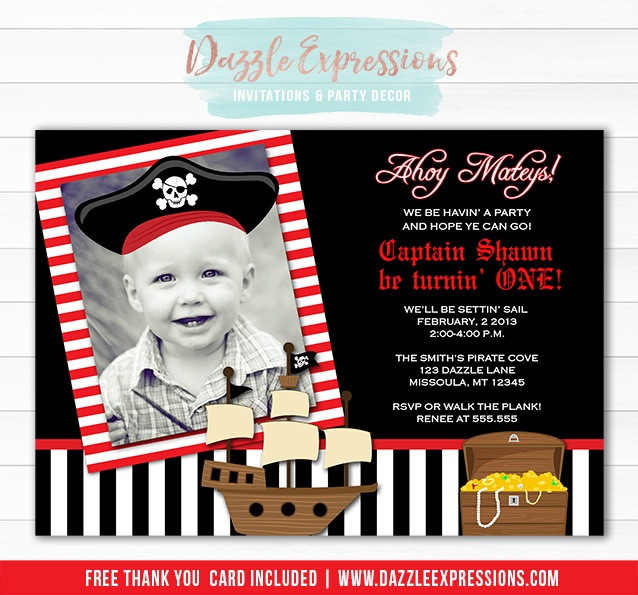 Printable kids pirate birthday invitation pirate hat ship pirate birthday invitation 1 free thank you card included filmwisefo