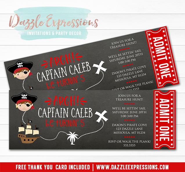 Pirate Chalkboard Ticket Invitation - FREE thank you card included