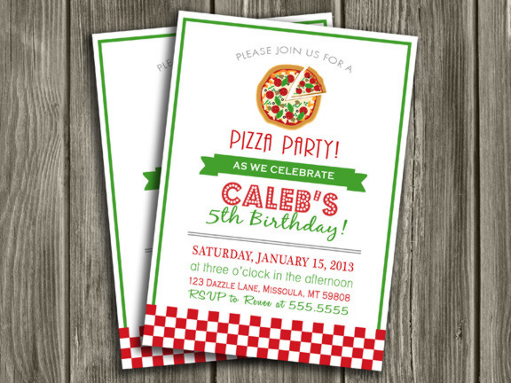 Pizza Party Invitation - Thank You Card Included