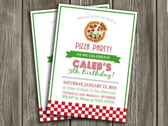 Printable Pizza Party Birthday Invitation - Kids Birthday ...