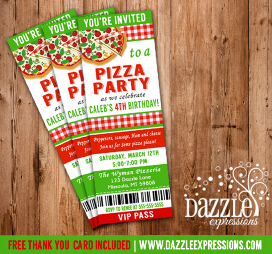 Pizza Party Ticket Invitation 1 - FREE thank you card included