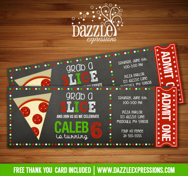 Pizza Chalkboard Ticket Invitation 1 - FREE thank you card included