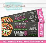 Pizza Chalkboard Ticket Invitation 3 - FREE thank you card included