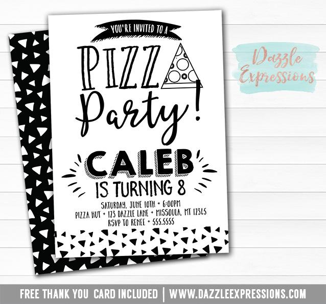 printable modern pizza party birthday invitation black and white
