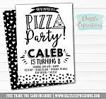 Pizza Party - Black and White Invitation - FREE thank you card and back side