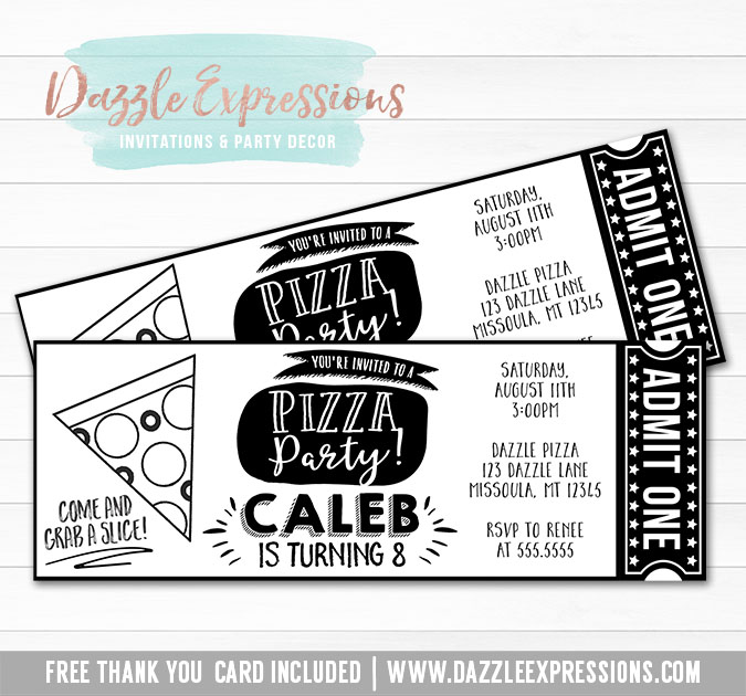 Pizza Party Ticket Invitation 2 - FREE thank you card included