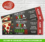 Pizza Chalkboard Ticket Invitation 2 - FREE thank you card included