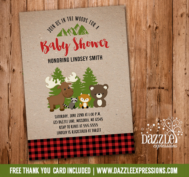 Printable buffalo plaid woodland baby shower invitation lumberjack plaid woodland baby shower invitation 1 free thank you card included filmwisefo Gallery