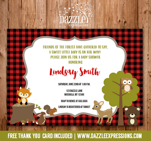 Plaid Woodland Baby Shower Invitation 2 - FREE thank you card included