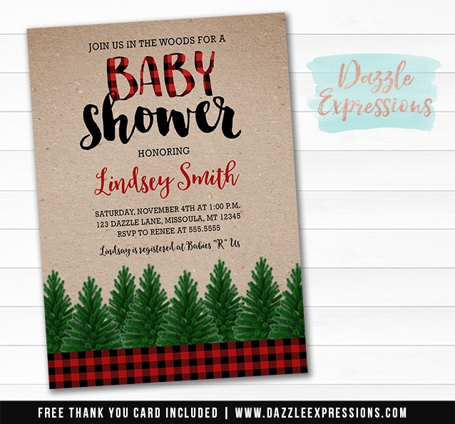 Plaid Baby Shower Invitation - FREE thank you card