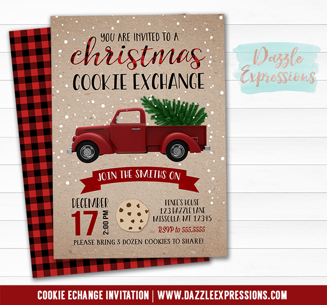Red Truck Christmas Cookie Exchange Invitation