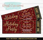 Plaid Holiday Party Ticket Invitation