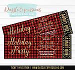 Plaid Holiday Party Ticket Invitation