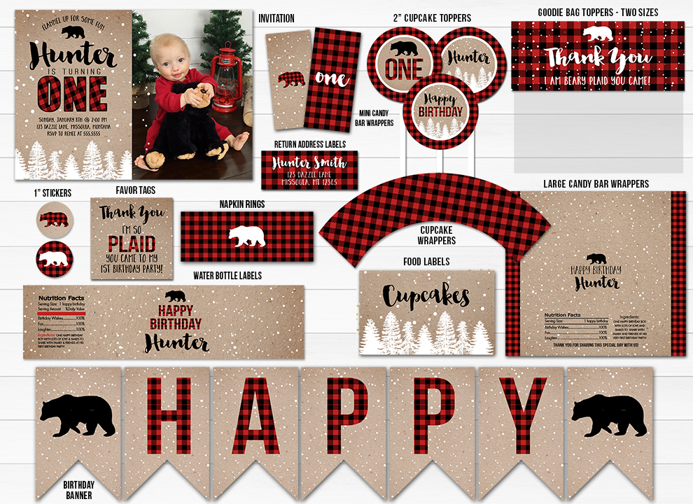 Winter Plaid Complete Party Package - Printable