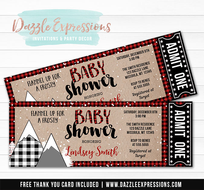 Plaid Winter Baby Shower Ticket Invitation - FREE thank you card