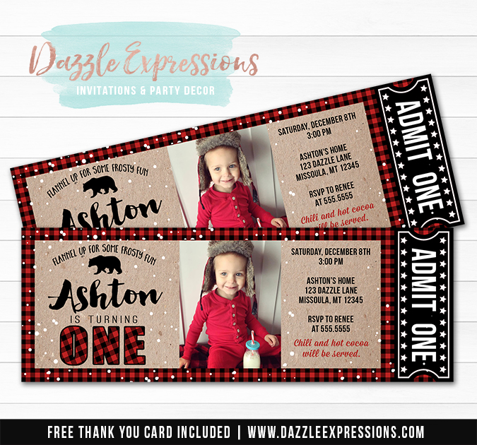 Plaid Winter Ticket Birthday Invitation 1 - FREE thank you card