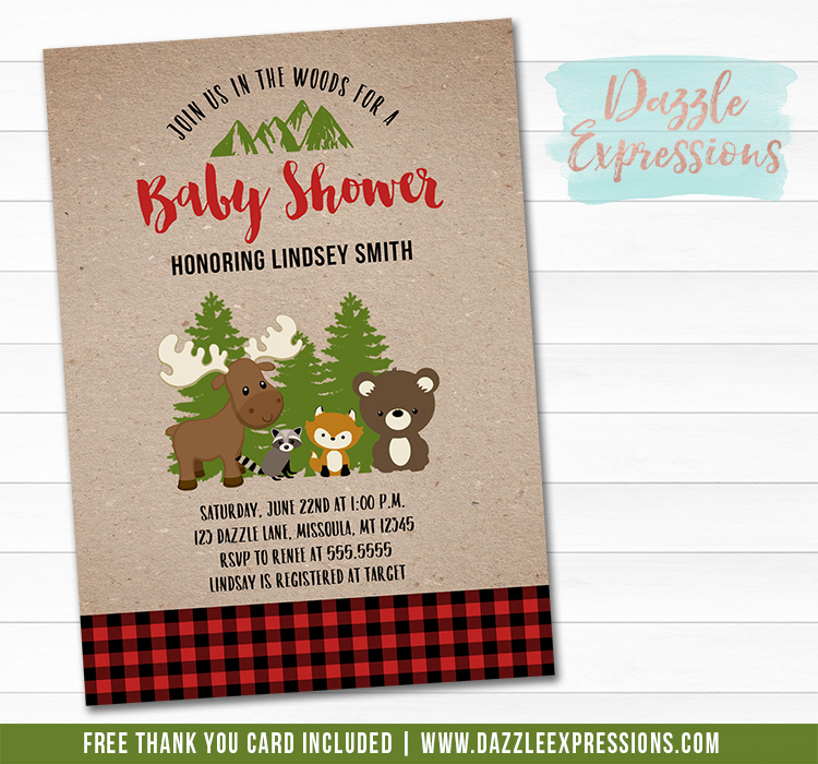 Plaid Woodland Baby Shower Invitation 1 - FREE thank you card included