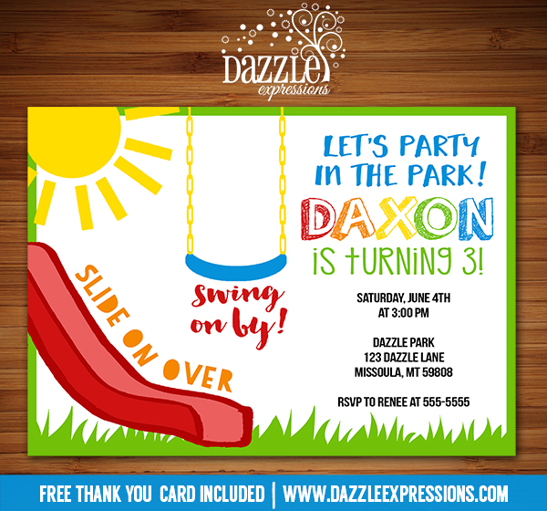 Park Or Playground Invitation 1 Free Thank You Card Included