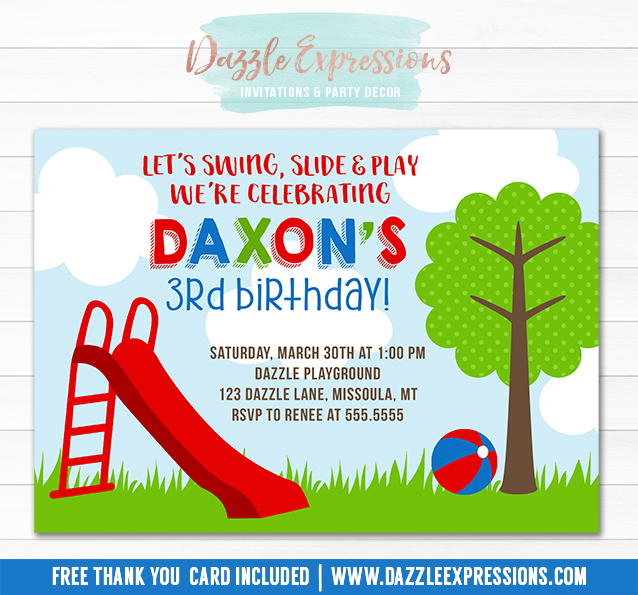 Printable playground birthday invitation kids party in the park park or playground invitation 3 free thank you card included filmwisefo