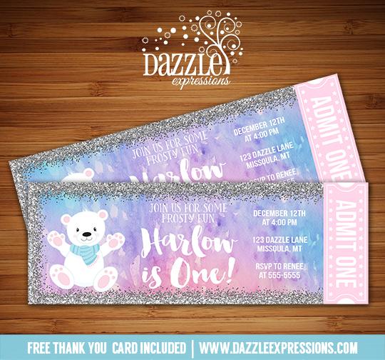 Printable Watercolor Polar Bear Glitter Ticket Birthday