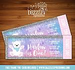 Polar Bear Glitter Ticket Invitation - FREE thank you card