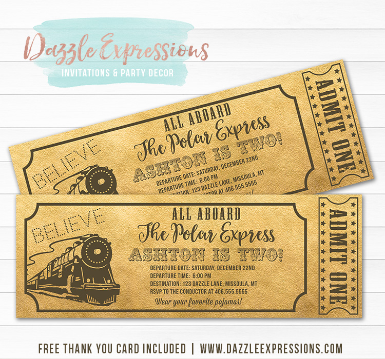 Polar Express Inspired Train Ticket Invitation 1 - FREE thank you card