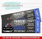 Police Chalkboard Ticket Invitation - FREE thank you card