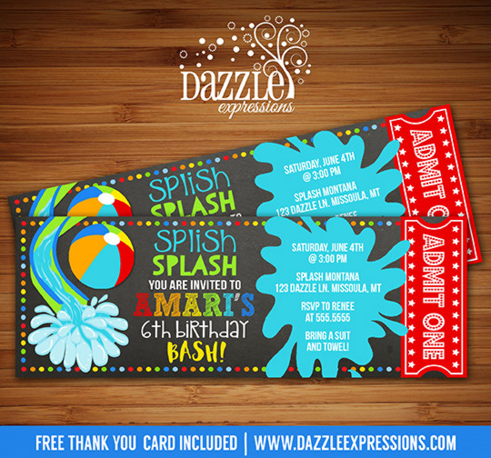 Pool Party Chalkboard Ticket Invitation 3 - FREE thank you card included