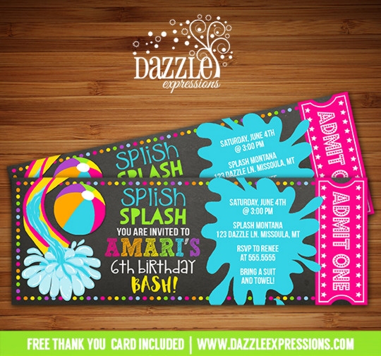 Pool Party Chalkboard Ticket Invitation 4 - FREE thank you card included