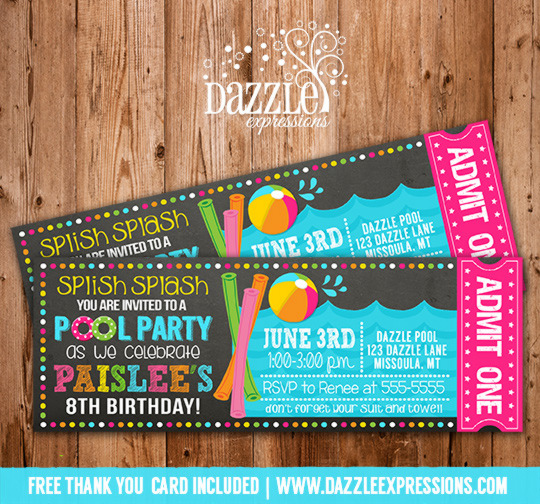 Printable Pool Party Chalkboard Ticket Birthday Invitation  Beach