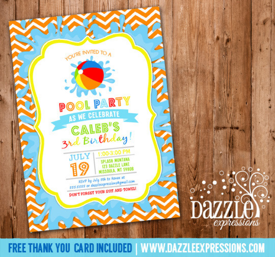 Pool Party Invitation 4 - FREE Thank You Card Included