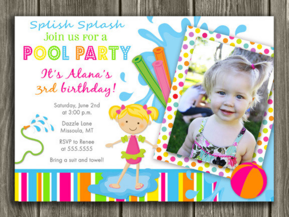 printable girl pool party photo birthday invitation swimming